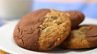 Double-Sided Cookie With Oatmeal Chocolate Chip And Chocolate Peanut Butter • Tasty