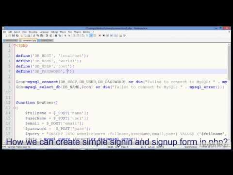 SignUP Form ,SignIn Form,Database Connection with example in PHP & MYSQL