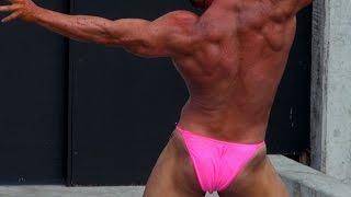 Pink Posing Trunks Bodybuilding Routine