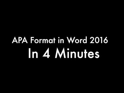 APA Format in Word - in 4 Minutes