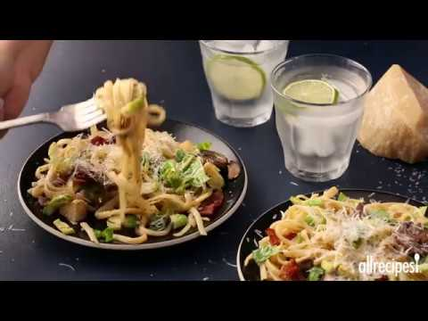 How to Make Bacon, Brussels Sprouts, and Mushroom Linguine | Pasta Recipes | Allrecipes.com
