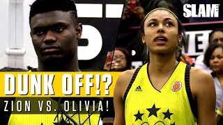 Zion Williamson Battles Olivia Nelson-Ododa for Dunk Contest at McDonald