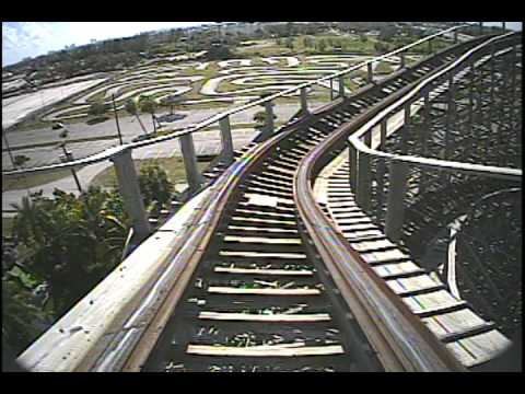 Dania Beach Hurricane Wooden Roller Coaster POV Front Seat Boomers Florida