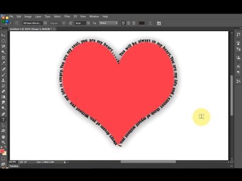Photoshop tutorial- Write Text around heart using photoshop