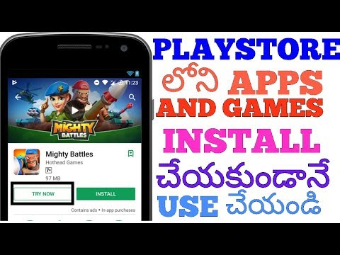 How to Use Apps and Games in playstore without installing in telugu.(google instant apps).