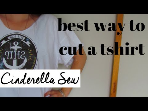 Best way to cut a tshirt - Cut off collar and make sleeves shorter - Easy t-shirt DIY cutting