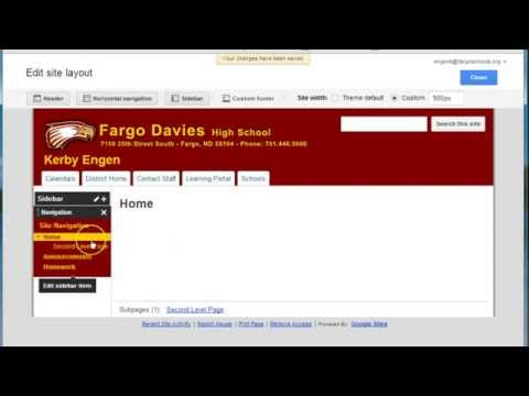 Google Site - Edit Site Layout