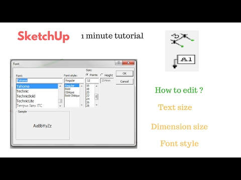 SketchUp How To Change Text, Dimension, Font Size ? (1 minute tutorial)
