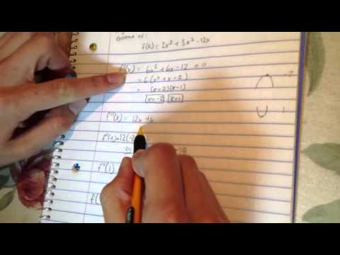 How to use the Second Derivative Test to find relative extrema of f(x)=2x^3+3x^2-12x