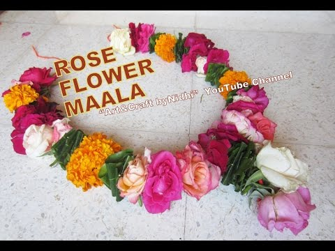 How to Make DIY Garland Maala Haar from Fresh Colorful Rose Flower & Bud  Home Decore Ideas