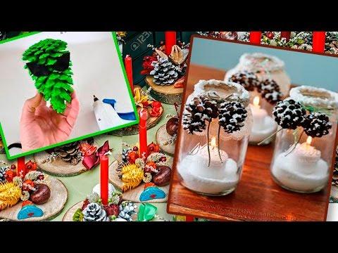 10 DIY Christmas Decoration Ideas 2017.  Recycling pine cones