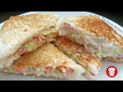 सुबह का नाश्ता या बच्चों का टिफिन 5 मिनट में तैयार ये टेस्टी नाश्ता - Dahi Mayo sandwich - Breakfast