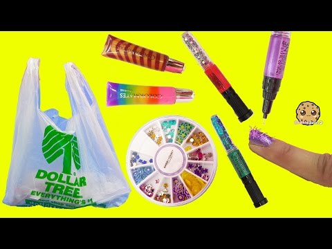 Dollar Tree Store Scented 3 in 1 Nail Polish Glitter Art Pens + Sticker Nails Tryout Video