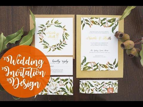 Wedding Invitation Design| Foliage | Watercolour | Photoshop