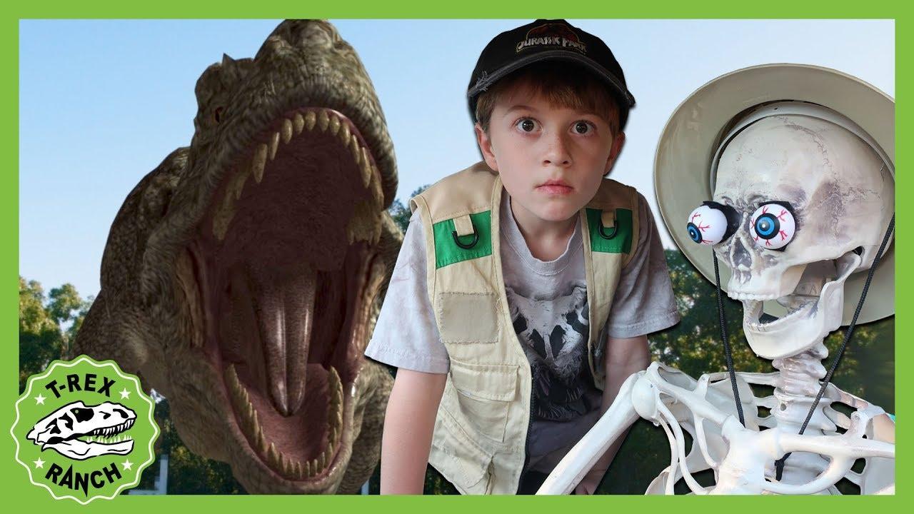 Giant T-Rex Dinosaur Takes on The Skeleton! Halloween Ready! Dinosaurs For Kids - T-Rex Ranch