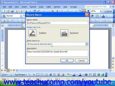 Word 2003 Tutorial Creating Macros Microsoft Training Lesson 29.2