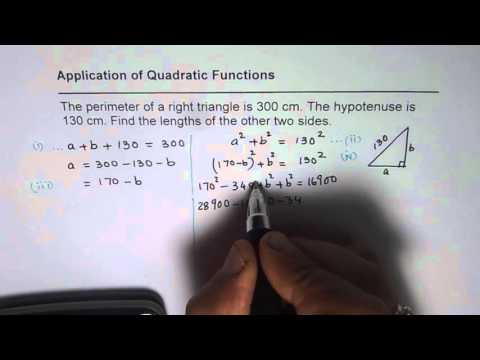 Application of Quadratic Function to Solve Triangle with Given Perimeter and Hypotenuse