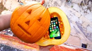 Can a Pumpkin Protect an iPhone 7 from 100ft Drop Test? - Gizmoslip