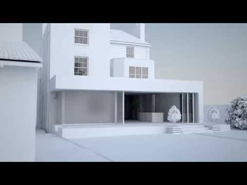 Modern extension to a listed building