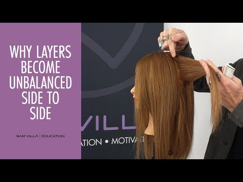 Why layers become unbalanced side to side when cutting hair