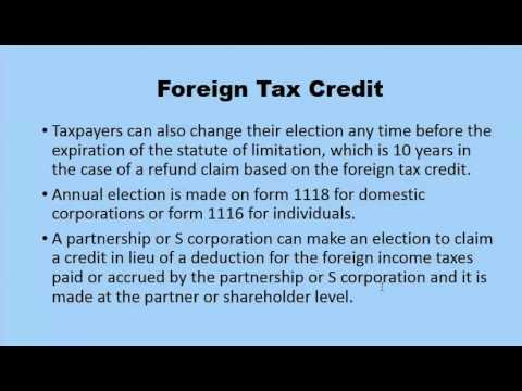 Foreign Tax Credit Calculation