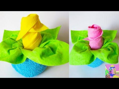 DIY Flower in Vase | Towel Folding Flowers | Washcloth Rose Tutorial | Baby Shower Ideas