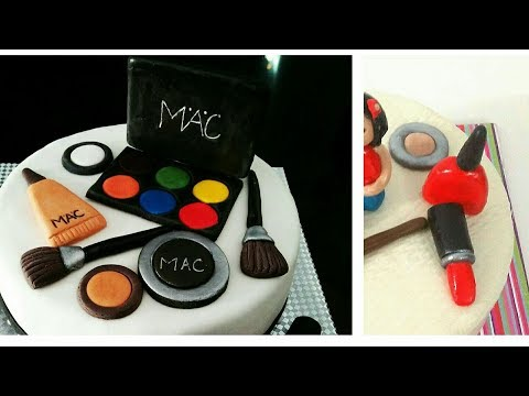 MAKEUP Cake/Cupcake toppers. How to make Cosmetic Cake Toppers with Fondant