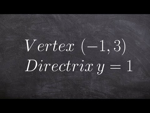 Write the equation of a parabola given vertex and directrix