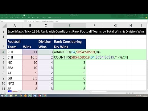 Excel Magic Trick 1354: Rank with Criteria: Rank Football Teams by Total Wins & Division Wins