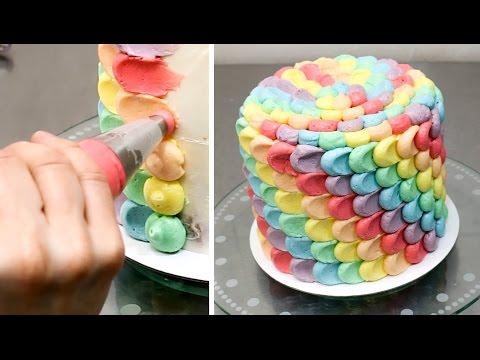 How To Make a Rainbow Petal Cake Buttercream cake decorating by CakesStepbyStep