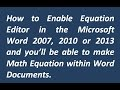 How to Enable Equation Editor   Word 2007, 2010, 2013