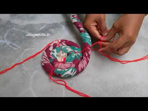 Recycling/reuse old clothes,twisted rug tutorial ,how to make Door mat from old cotton saree,DIY#16