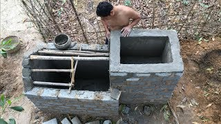 Primitive Technology:Tank from Brick-Part 3!Smoothing!Primitive life-wilderness!