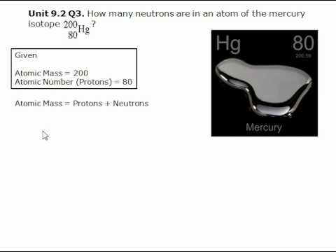 How many neutrons are in an atom of the mercury isotope?