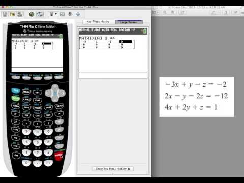 TI-84 Tutorial - Solving for 3 Variables using the RREF Feature (in Matrix Menu)