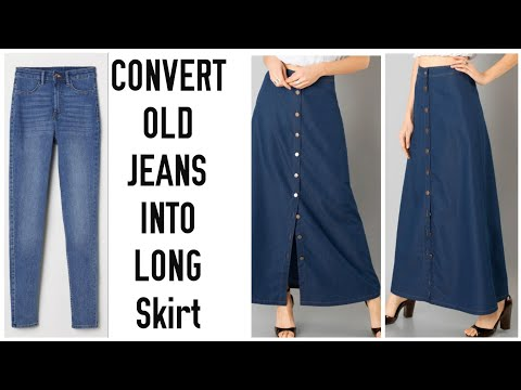 DIY CONVERT OLD JEANS INTO LONG SKIRT IN 10 MINUTES~