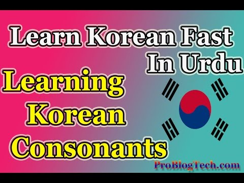 Learn Korean Language Consonants in Urdu Lesson No 1 Learn Korean Language