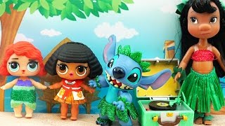 Kids Toys L.O.L. Surprise Dolls Turn into Moana and Ariel and Play With Lilo and Stitch - DIY