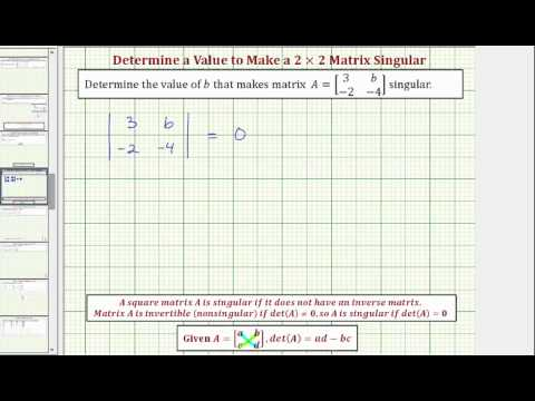 Ex: Determine a Value in a 2x2 Matrix To Make the Matrix Singular