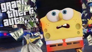 Spongebob ROBS a BANK MOD (GTA 5 PC Mods Gameplay)