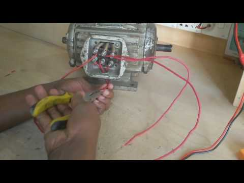 how to test three phase motor by single phase supply in English.