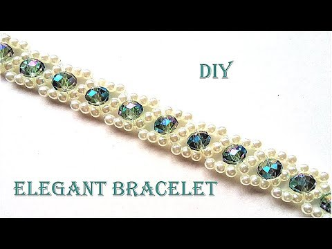 How to make pearls and crystal bracelet. Easy pattern.