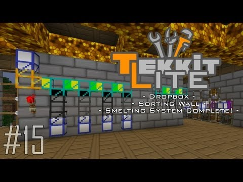 Tekkit Lite - Part 15: Dropbox & Sorting Pipes! Smelting Facility Complete!