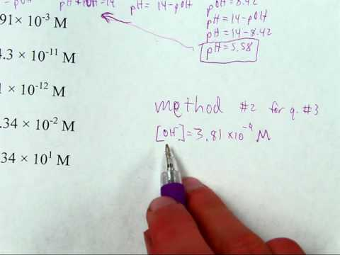 Calculating pH from hydrogen or hydroxide ion concentration