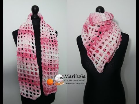 How to crochet lace scarf shawl cowl free easy pattern tutorial for begginer