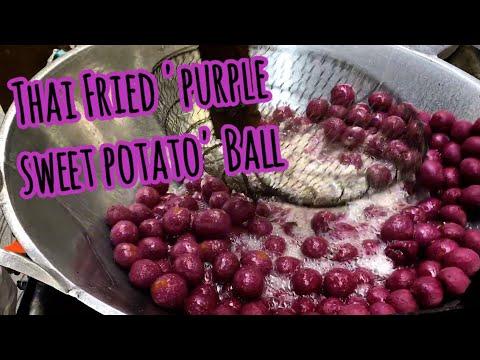 Street Food Bangkok, Thailand: Deep Fried Purple Sweet Potato Ball, ไข่เต่ามันม่วง, ไข่นกกระทา