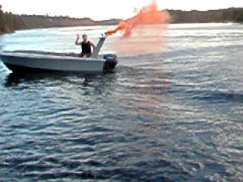 Smoke bomb on the home made boat SADDAM