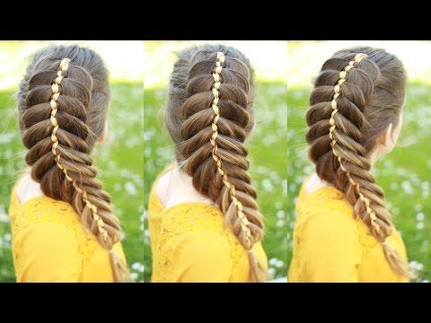 How to Dutch Fishtail Braid with Ribbon | Ribbon Braids | Braidsandstyles12