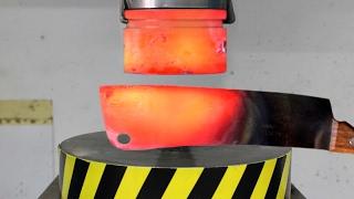 EXPERIMENT Glowing 1000 degree HYDRAULIC PRESS 100 TON vs Glowing 1000 degree MEAT CHOPPER