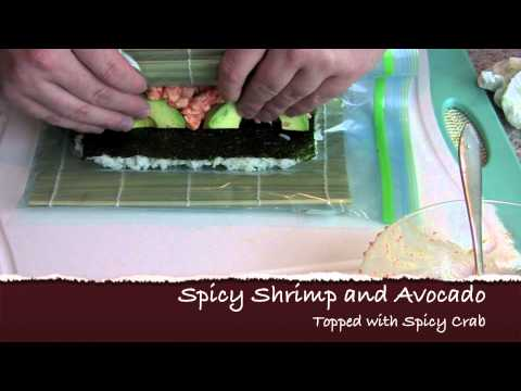 Spicy Shrimp Sushi Roll with Spicy Crab on Top - Video Sushi Recipe